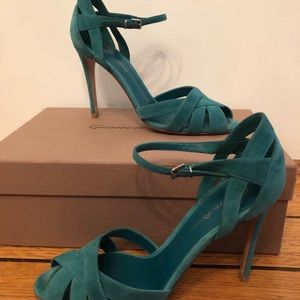 Gianvito Rossi Green Teal Suede Sandals Heels
